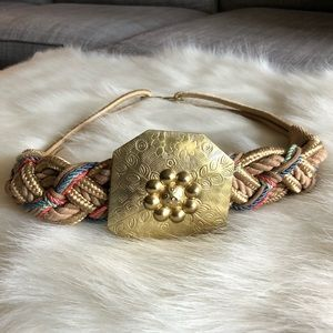 Vintage Braided Knotted Rope Belt With Gold Accent